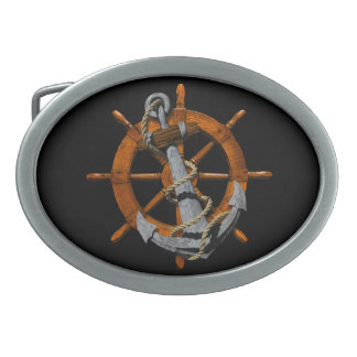 Nautical Ships Wheel And Anchor Oval Belt Buckles