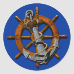Nautical Ships Wheel And Anchor Round Stickers