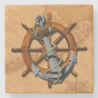 Nautical Ships Wheel And Anchor Stone Coaster