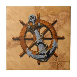 Nautical Ships Wheel And Anchor Tile