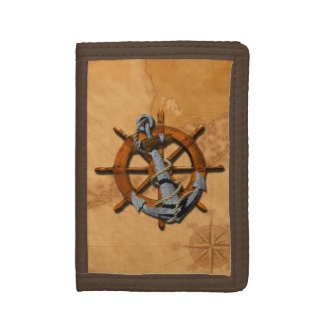Nautical Ships Wheel And Anchor Tri-fold Wallet