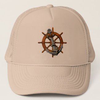 Nautical Ships Wheel And Anchor Trucker Hat
