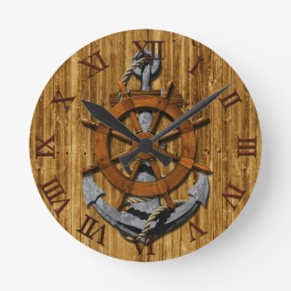Nautical Ships Wheel And Anchor Wall Clocks