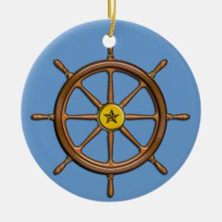 Nautical Ship's Wheel Christmas Ornament