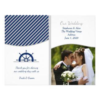 Nautical Ship's Wheel Photo Wedding Programs 21.5 Cm X 28 Cm Flyer