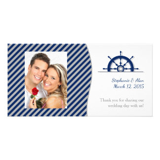 Nautical Ship's Wheel Photo Wedding Thank You Picture Card