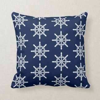 Nautical Ship's Wheel Pillow - Navy Blue and White