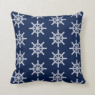 Nautical Ship's Wheel Pillow - Navy Blue and White