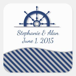 Nautical Ship's Wheel Wedding Stickers