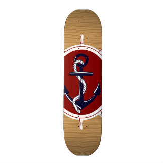 Nautical Ships Wheels Anchor on Wood Grain Skate Boards