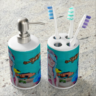 Nautical Sights to See Bathroom set. Soap Dispenser And Toothbrush Holder