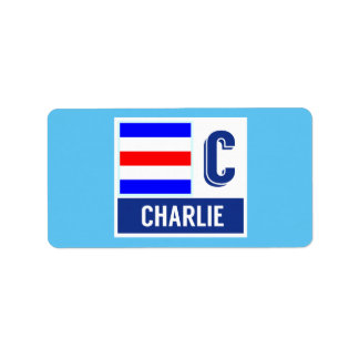 "Nautical Signal Code Flag C ""Charlie"" Label"