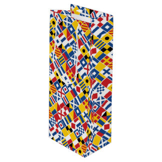 Nautical Signal Flags Pattern Wine Gift Bag