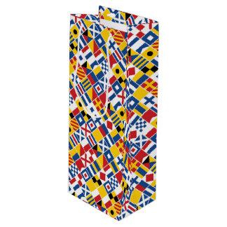 Nautical Signal Flags Pattern Wine Gift Bag