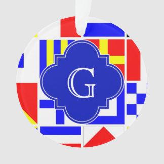 Nautical Signal Flags Royal Quatrefoil Monogram Ornament