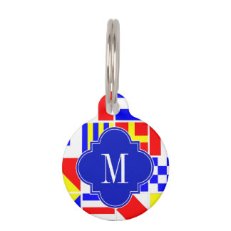 Nautical Signal Flags Royal Quatrefoil Monogram Pet Name Tag
