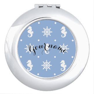 Nautical sky blue pattern mirror for makeup