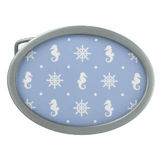 Nautical sky blue pattern oval belt buckles