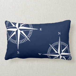 Nautical Star Compass on Navy Blue Lumbar Pillow