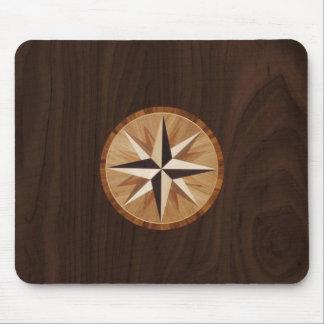 Nautical Star Dark Wood Inlay Mousepad