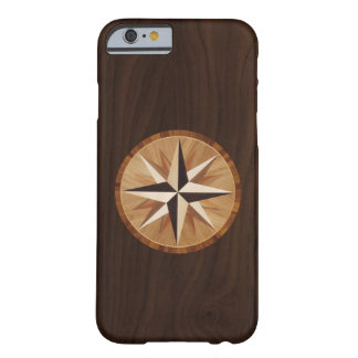 Nautical Star Dark Wood Marquetry Look Barely There iPhone 6 Case