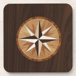 Nautical Star Dark Wood Marquetry Look Coaster