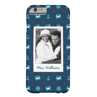 Nautical Star Pattern | Your Photo & Name Barely There iPhone 6 Case