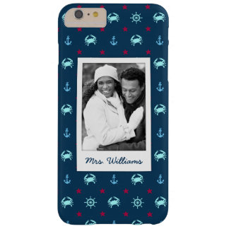 Nautical Star Pattern | Your Photo & Name Barely There iPhone 6 Plus Case