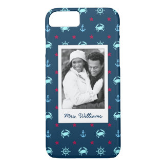 Nautical Star Pattern | Your Photo & Name iPhone 8/7 Case