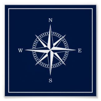 Nautical Star Poster - Navy Blue and White
