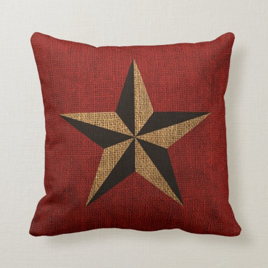 Nautical Star Rustic Red Cushion