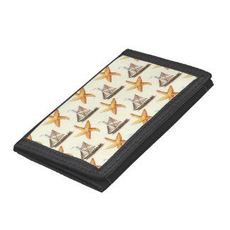 Nautical Starfish and Sailboat Pattern Tri-fold Wallets