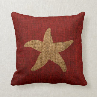 Nautical Starfish in Rustic Red and Burlap Look Cushion