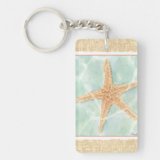 Nautical Starfish in Water Key Ring