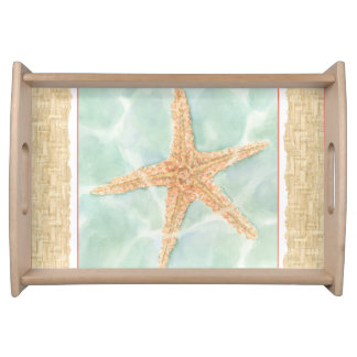 Nautical Starfish in Water Serving Tray
