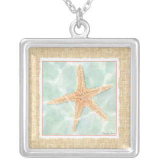 Nautical Starfish in Water Silver Plated Necklace