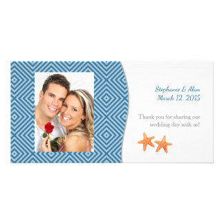 Nautical Starfish Photo Wedding Thank You Customized Photo Card