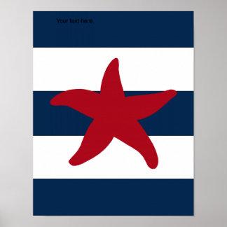 Nautical Starfish print red navy and white