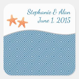 Nautical Starfish Wedding Stickers