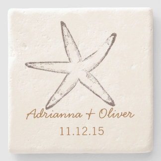 Nautical Starfish Wedding Stone Coaster