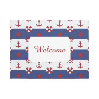 Nautical Stars And Stripes Pattern | Add Your Text Doormat