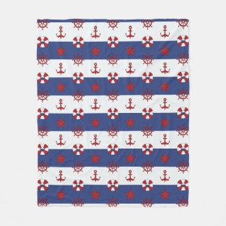 Nautical Stars And Stripes Pattern Fleece Blanket