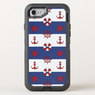 Nautical Stars And Stripes Pattern OtterBox Defender iPhone 8/7 Case