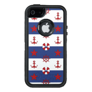 Nautical Stars And Stripes Pattern OtterBox Defender iPhone Case