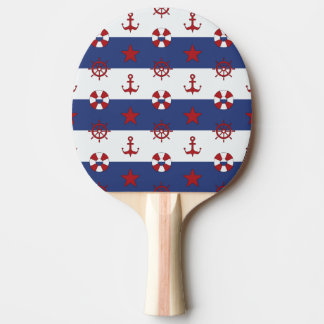 Nautical Stars And Stripes Pattern Ping Pong Paddle