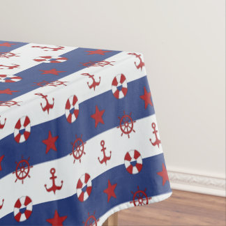 Nautical Stars And Stripes Pattern Tablecloth