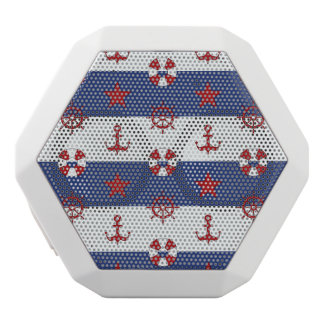 Nautical Stars And Stripes Pattern White Bluetooth Speaker