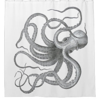 Nautical steampunk octopus Vintage beach kraken Shower Curtain