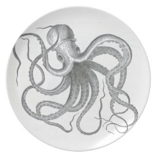 Nautical steampunk octopus vintage drawing dish