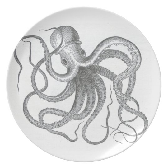 Nautical steampunk octopus vintage drawing dish plate